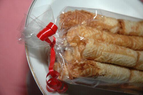 Bricelet biscuits in Gruyere, Switzerland.