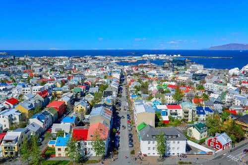A panoramic view of downtown Reykjavik, the capital city of Iceland.