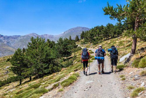 People hike in the Sierra Nevada Trail.