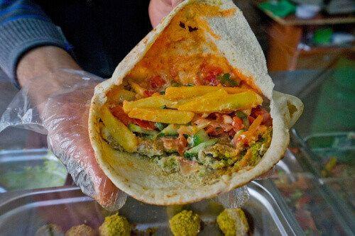 A delicious Falafel wrap in Amman.