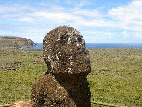 Moai at Rano Raraku quarry on Easter Island, Chile.