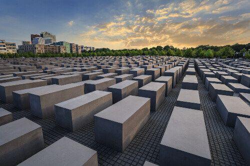 The Jewish Holocaust Memorial Museum and Berlin city skyline in Berlin.