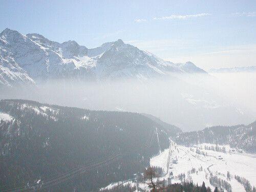 The Piz Bernina range of mountains in the Swiss Rethic Alps in Canton Graubuenden, Switzerland.