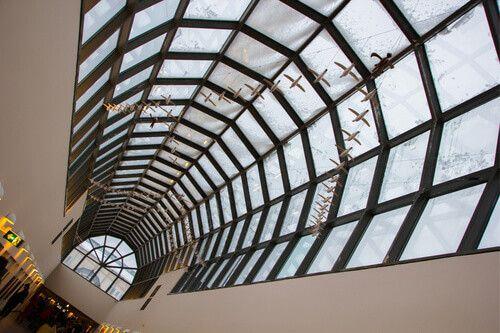 The glass Arktikum Museum ceiling in Rovaniemi, Finland.