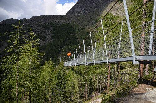 The Charles Kuonen Suspension Bridge. The longest pedestrian suspension bridge in the world.