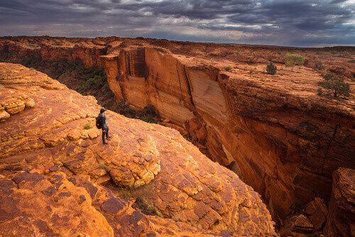 Man travels in Kings Canyon.