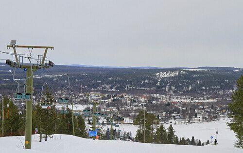 Ounasvaara Mountain ski resort in Rovaniemi, Finland.