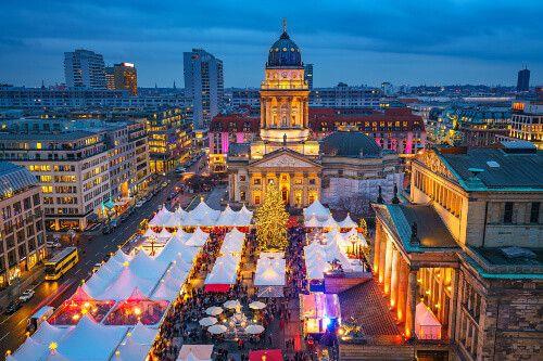 Beautifully lit Gendarmenmarkt during Christmas season in Berlin.