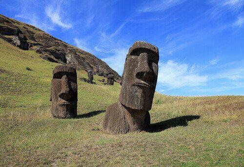 The beautiful Moai statues of Easter Island or Rapa Nui, Chile.