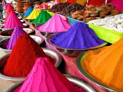 Bowls of colour powder for Holi Festival, India.