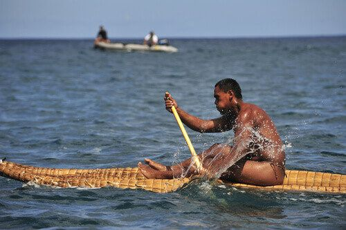 The local canoe race is apart of the annual Tapati Festival on Easter Island, Chile.