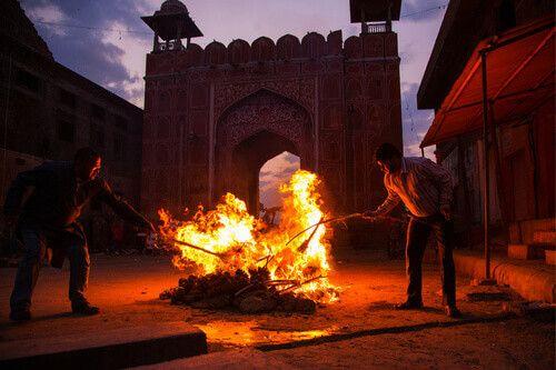 Holika Dahan bonfire in Jaipur, India.