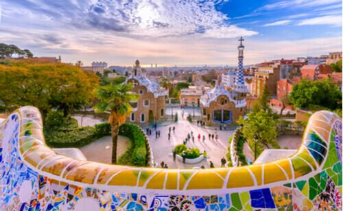 The streetview of Park Guell, Barcelona, Spain.