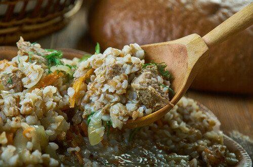 Kasha Po Kupecheski is a famous Russian buckwheat porridge  with vegetables and beef.