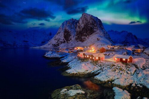 Hamnoy fishing village with red rorbu houses on Lofoten Islands, Norway.