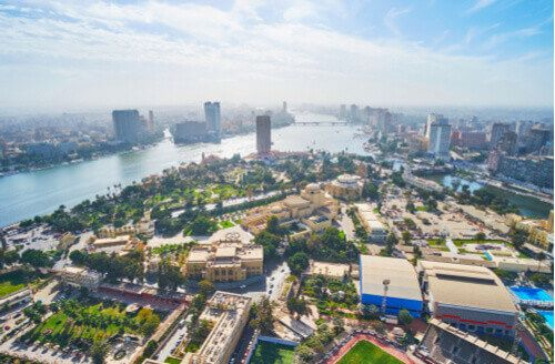 Aerial view of Gezira Island with the Opera House and museums and the banks of Nile River in the background.