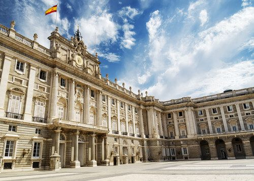 The south facade of the Royal Palace in Madrid.