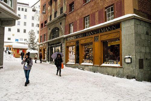 Cafe Hanselmann in St Moritz, Switzerland.
