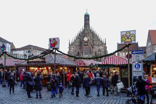 The Christmas Market or, Chriskindlesmarkt in Nuremberg.