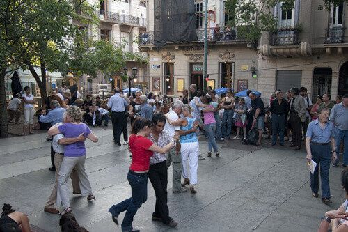 People dancing in the Plaza Dorrego in San Telmo, Buenos Aires, Argentina.