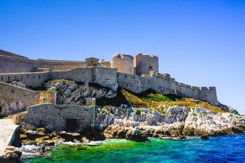 Chateau D'if is a famous fortress prison on the island in the Bay of Marseille.
