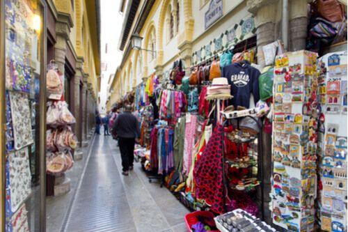 The quaint Granada Flea Market, Spain.