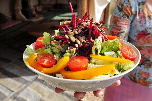 A colourful fresh vegetable salad dish in Israel.