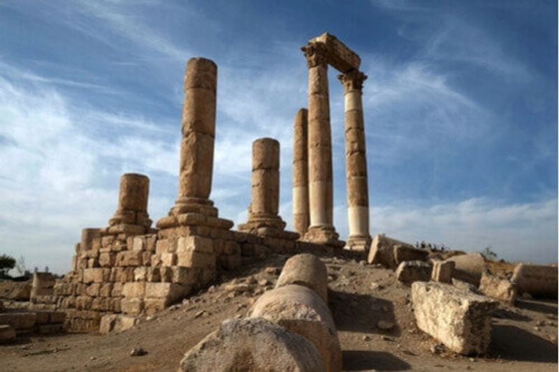 The historic ruins in the Citadel, Amman.