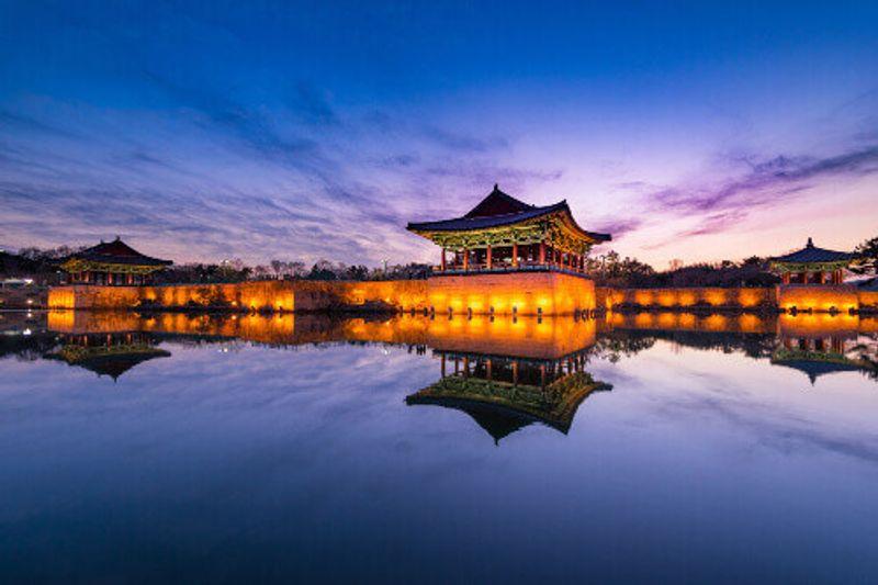 A beautiful sunset view at Donggung Palace and Wolji Pond in Gyeongju, South Korea.
