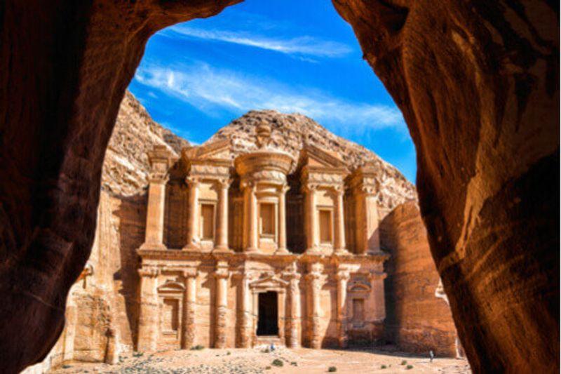 The historic Ad Deir Monastery, Jordan.