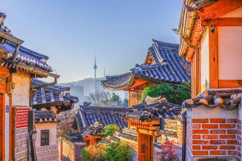 The historic Bukchon Hanok Village in Seoul, South Korea.