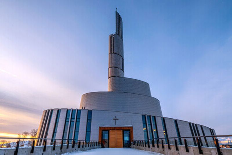 The sleek Northern Lights Cathedral in Alta, Norway.