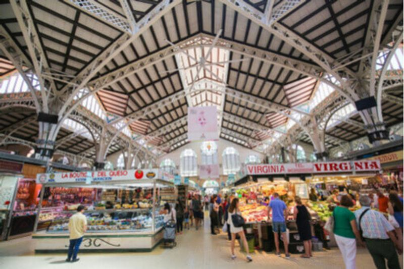 The stylish and functional interiors of Valencia Market, Spain.