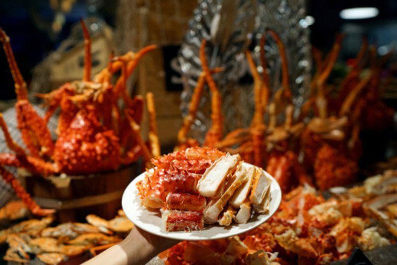 The King Crab Buffet on display in Alaska.