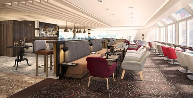 The lounge of the expansive cruise ship.