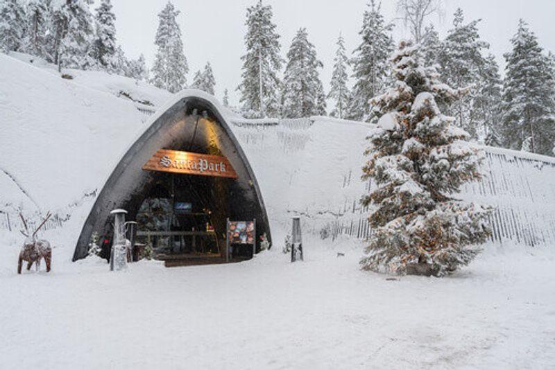 The entrance of Santa Park in Rovaniemi, Finland.