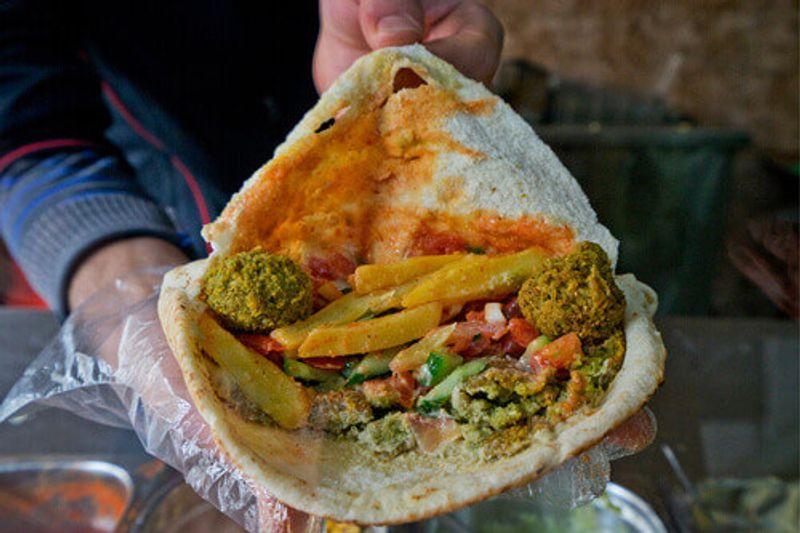 A delicious falafel in Wadi Rum, Jordan.