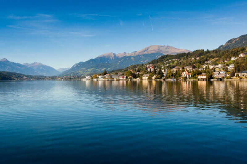 The Village of Millstatt am See on the Lake of Millstatt in Austria.