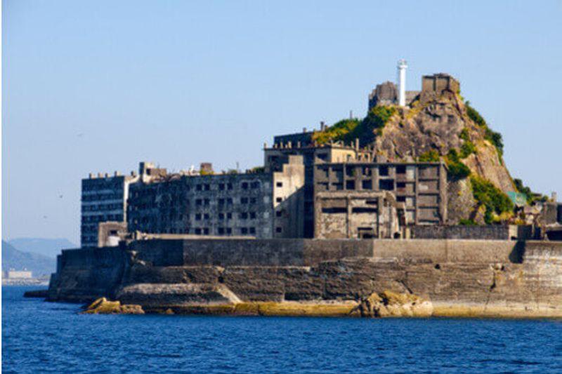 The eerie Gunkanjima Island in Nagasaki, Japan.