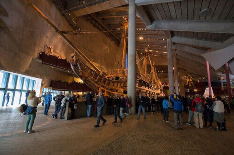 Interior of the Vasa Museum or Vasamuseet and Vasa itself in Stockholm.