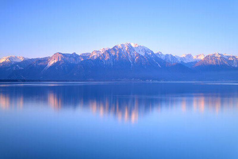 Alps on Lake Geneva at Montreux, Switzerland.