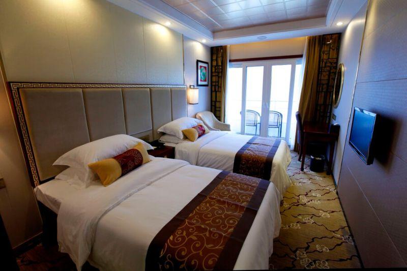 Interior of a room inside the Yangtze Gold 6 cruise ship