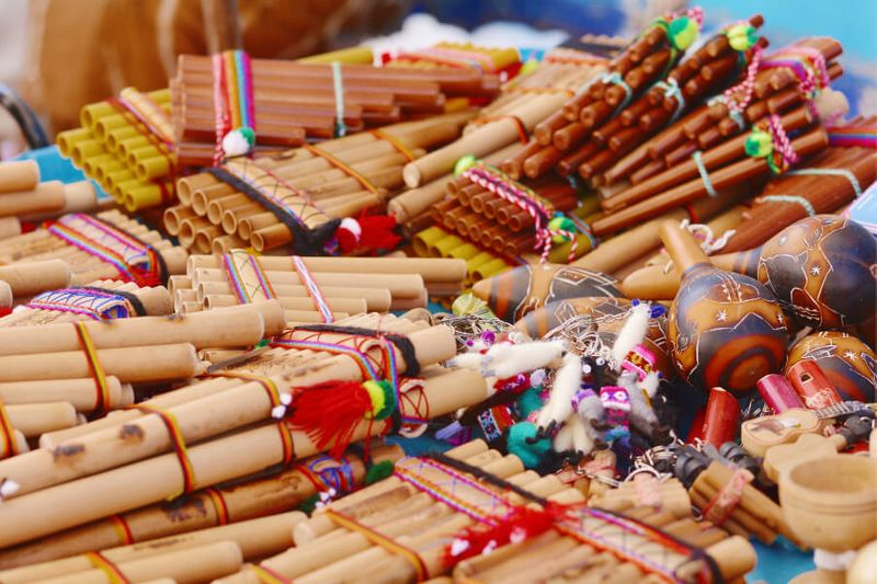 Zampona and other typical Andean musical instruments in the market.