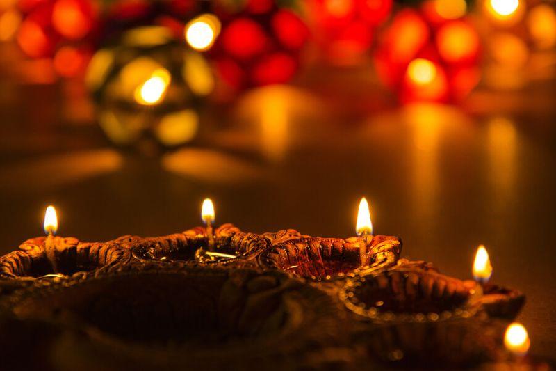 Beautiful Diwali lamps on display.