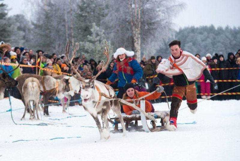 Sami Reindeer racing in Jokkmokk.
