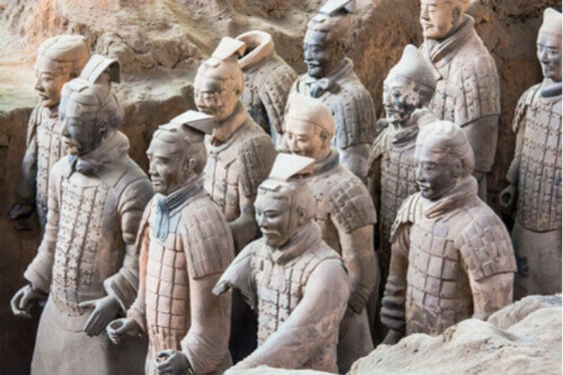 A close up view of the Terracotta Warriors in Xi'an, China.