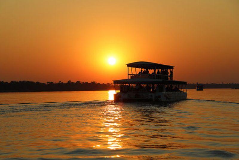 A sunset cruise on the Zambezi River.