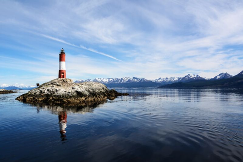 The picturesque Les Eclaireurs Lighthouse, Argentina.