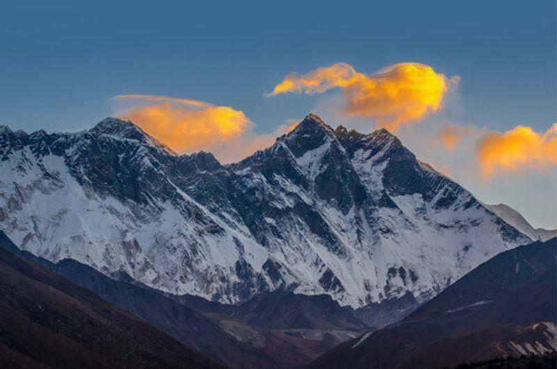A view of Nuptse Peak,  Everest Peak and Lhotse Peak in Nepal.