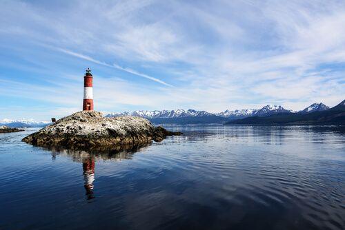 The picturesque Les Eclaireurs Lighthouse, Argentina.